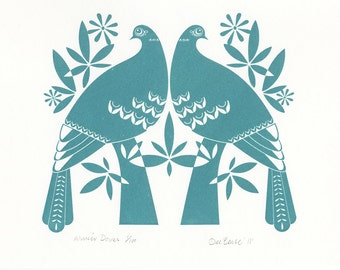 Winter Doves in Dark Teal - Hand Pulled, Gocco Screenprint