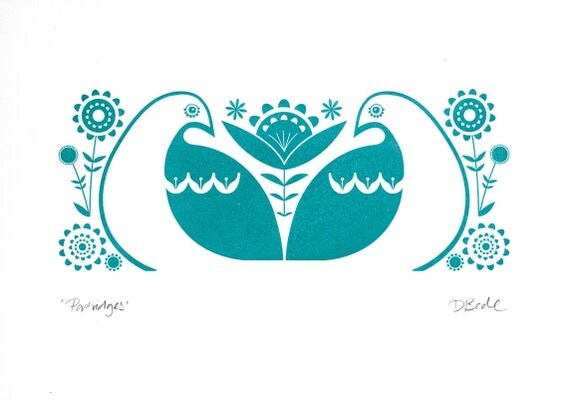 Partridges in Teal - Hand Pulled, Signed, Gocco Screenprint