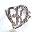 50% sale as marked Sterling Initial K in a heart Vintage Ring