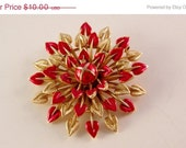 50%Off Sale as shown Crown Trifari Red and Goldtone Flower Pin Brooch