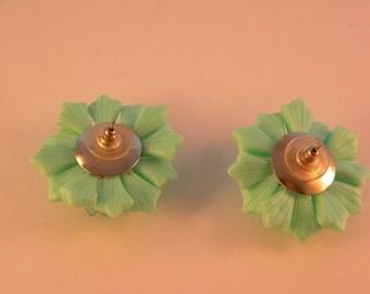 Sea Foam Green and Clear Plastic Pierced Earrings Vintage Jewelry