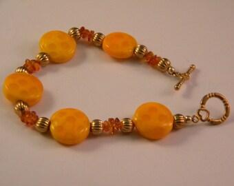Yellow and Topaz Glass Bracelet
