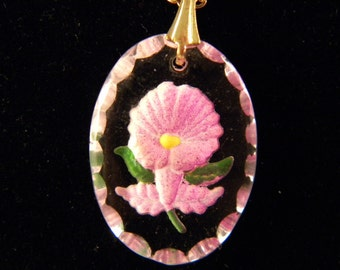 Vintage Glass Intaglio Reverse Hand Painted Pink Orchid Flower pendant Necklace