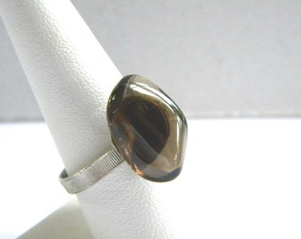 Vintage Smoky Quartz Adjustable Ring