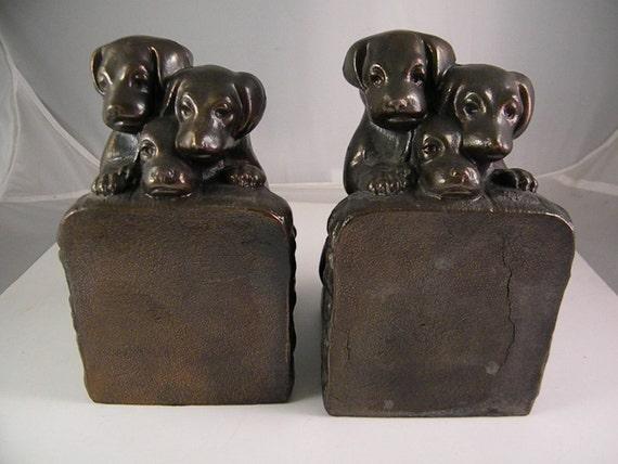 Bronze 3 Puppy Dog Bookends