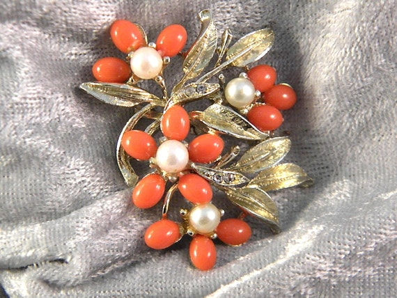 Vintage Tangerine Tango Color Pin with Faux Pearls and Rhinestones Vintage Jewelry