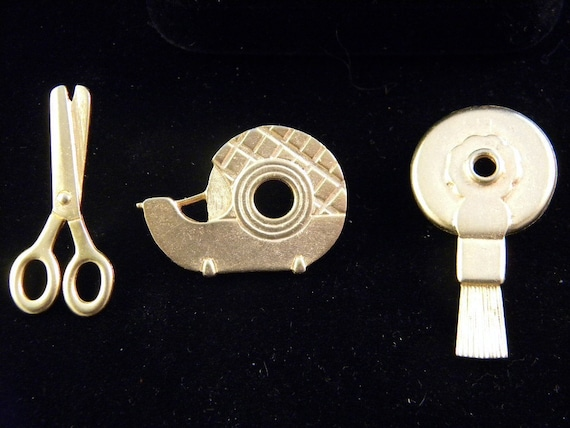 JJ Vintage jewelry Office items pins scissors tape and eraser so cute