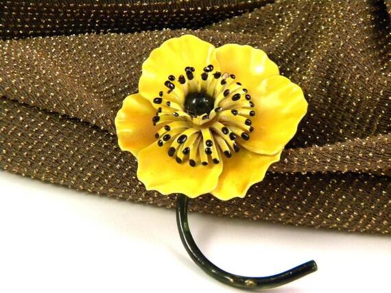 Vintage Yellow Enamel Flower Pin