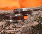 Reserved for ariskystitch 2 rings - Steel  and Cocobolo wood wedding rings size 6.25,9