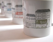 Ceramic Mug - Tea and Coffee - Mainstreet -Tea Shop/Coffee Shop Streetscape Scene - Irish Language Cup