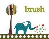 Children's Art Print, Kids Room Decor, Elephant, Bath Room, 8x10 Art Print, Personalized, inspired Target Circo Elephant Showe