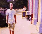 Cityscape Wall Art Original Oil Painting - A Walk Down Mass. Ave. City Art Home Gift Ideas