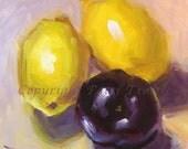 Buy Food Kitchen Wall Art Yellow Lemon Plum Still Life Original Oil Christmas gift ideas