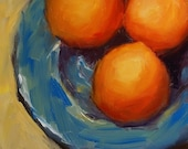 Art Painting Fruit  Still Life Orange On Blue Plate Original Oil Painting by Patti Trostle