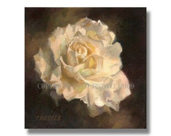 White Rose Botanical Room Decor Art Print Wedding Valentines Day Gift Ideas Flower Floral Painting