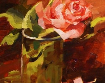 Floral Flower Oil Painting Coral Orange Rose 2 Original Oil Painting Wedding Home Garden Gift Ideas