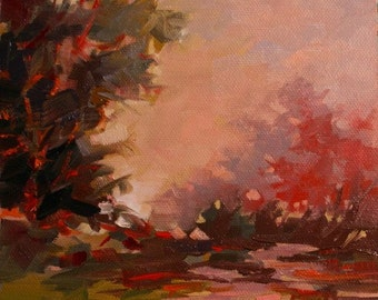 Original oil painting landscape canvas red Christmas gift ideas gift