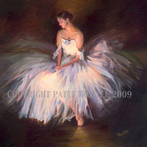Ballerina Print Dress Most Popular Print Blue and Pink Ballerina Print Wall Art Room Decor from Original Oil Painting Gift Idea
