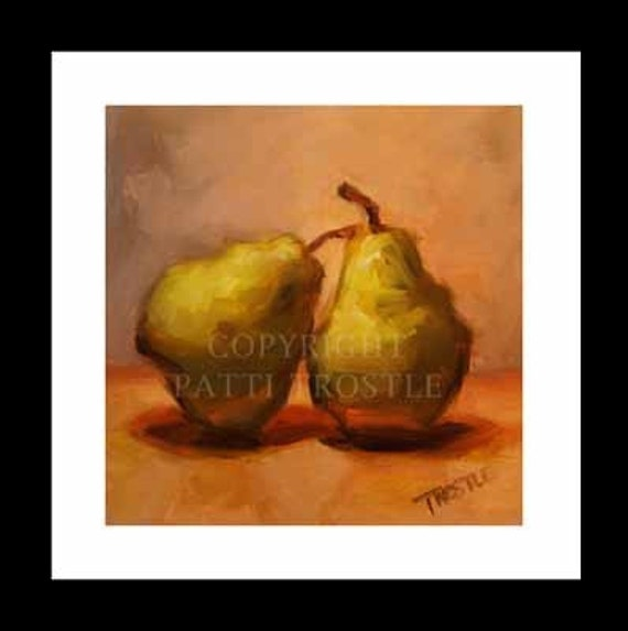 Food Print Kitchen Art Fruit Green Pears Print 8 3/16x8 1/4 Gift Ideas