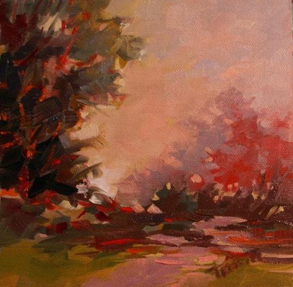 Original Oil Painting Small Fall Autumn Landscape Gift ideas Anniversary Wedding Christmas Gift idea