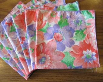 Cloth Napkins Pink and Lavender Flowered