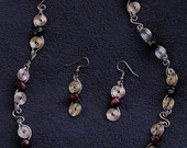 Double Spiral Necklace and Earrings - Dusk