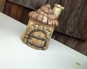 GNOME HOME...Moss Garden Collectibles gnome or fairy house by Raquel, Pinlady, Hand Sculpted Polymer Clay