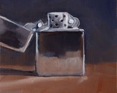 Shiny, Chrome, Silver Zippo Lighter, Ultramarine Blue and Umber Brown Original Painting by Clair Hartmann