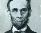 Study of Abraham Lincoln in Gray and Blue Original Oil Painting by Clair Hartmann