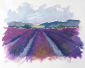 Beautiful Purple, Violet, Expansive, LAVENDER FIELDS by Clair Hartmann original oil painting on paper