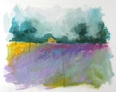 Purple and Violet, Gold, Green LAVENDER FIELDS by Clair Hartmann original oil painting on paper
