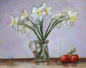 SPRING DAFFODILS with Red Tomatoes Still Life, Purple, Violet, Brown Background  by Clair Hartmann Original Oil Painting