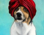 Cute, Regal Jack Russell Terrier in a Red Turban, Diamond Pin, Aqua, Blue Background - Signed Print by Painter, Clair Hartmann