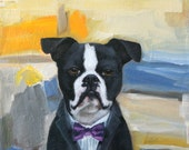 RESERVED. Boston Terrier in a Suit, Purple Tie, Willem De Kooning Abstract  Background - original oil painting by Clair Hartmann