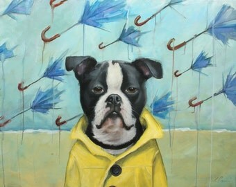 Black and White, Boxer, Boston Terrier Dog in Raincoat on Beach, Raining Umbrellas, Signed Print  by Painter, Clair Hartmann