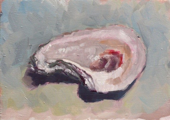 Oyster Shell original oil painting by by ClairHartmannFineArt