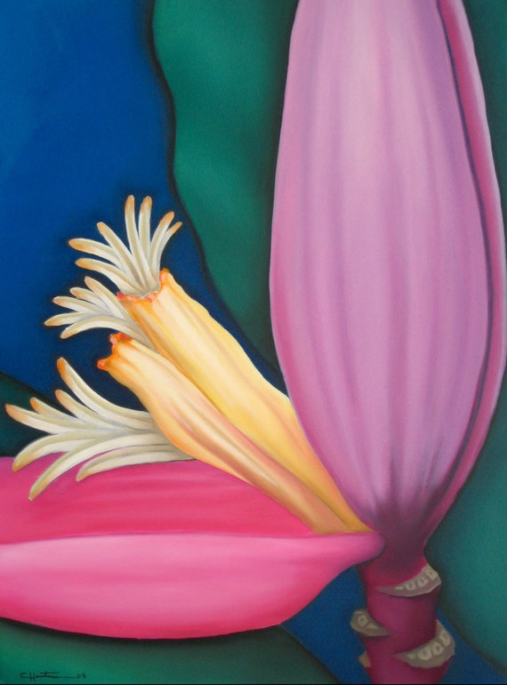Tropical, Colorful, Banana, Fruit, Bloom on a Green Blue Background, Original Painting by Clair Hartmann