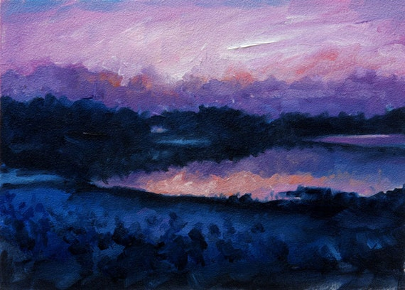 Evening, Purple, Pink and Blue Sunset, Lake, Water Reflection, Original Painting by Clair Hartmann