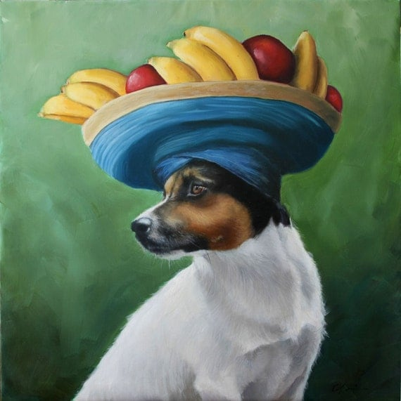Chiquita, Jack Russell, Banana, Hat, Fruit, Tropical, islands, Original Painting by Clair Hartmann