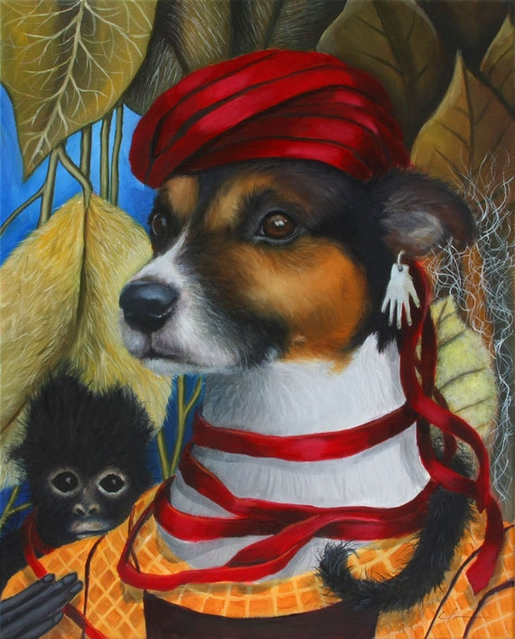 """Frida Kahlo Inspired, Jack Russell Dog, Whimsical, Monkey, 24"""" x 36"""" Signed Print by Clair Hartmann"""