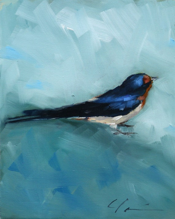 Painterly Barn Swallow, Blue, Black, Rust Orange, Sitting Bird on Blue Green - Original Painting by Clair Hartmann