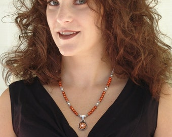 Orange & Black Tiger Stripe Dichroic Pendant Necklace with Sterling Silver