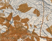 Small Monoprint Series: Brown Leaves on Branches (#5)
