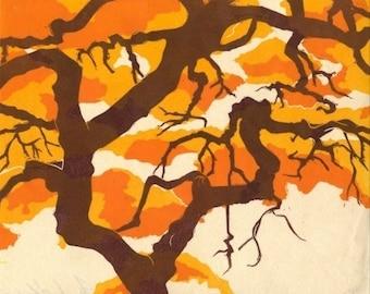 Japanese Maple, Multi Block Linoleum Reduction Print