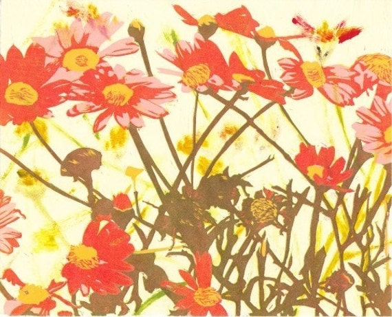 Daisy, Linoleum Relief Print, Hand Pulled Multi Block Print