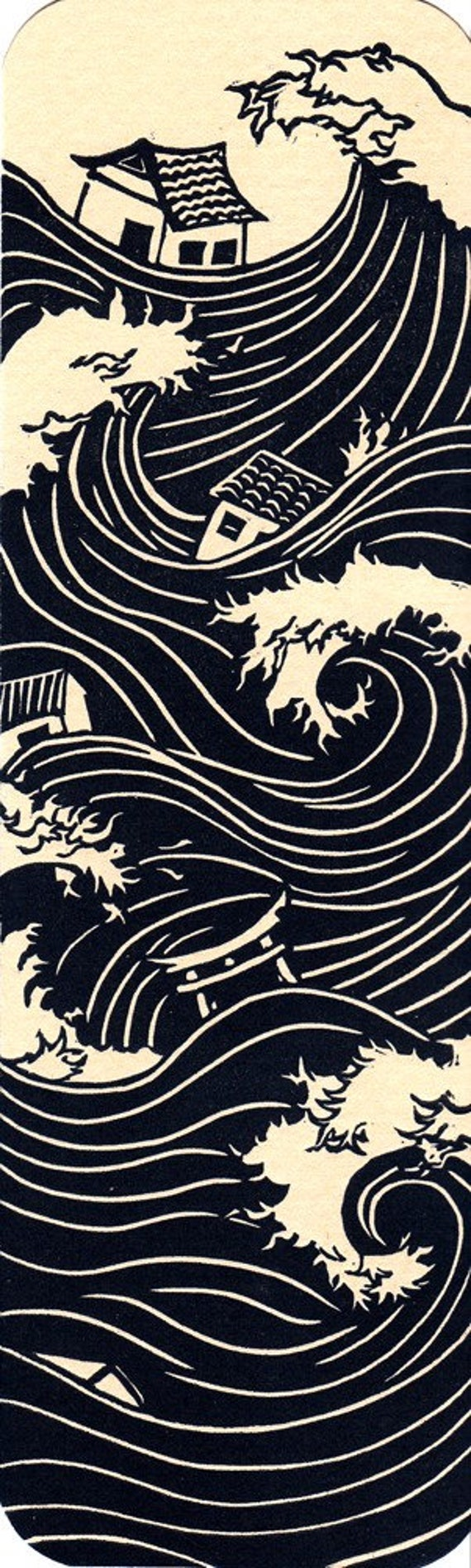 Tsunami Bookmark - Japan Disaster Relief, Linoleum Relief Print, Hand Pulled Linocut