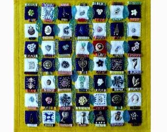 Nostalgia - Art Quilt with Vintage Jewelry