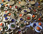 5 Vintage Iranian Coin and Glass pendants
