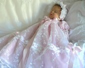 Pink Blush Embroidered Organza GOWN for REBORN  Doll or Newborn  BABY