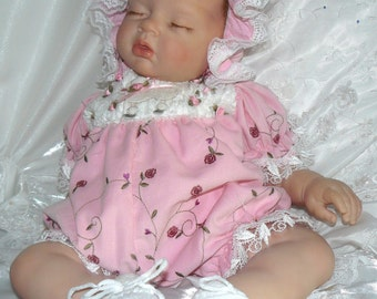 REBORN Victorian Embroidered Roses  ROMPER for Reborn doll or Newborn BABY
